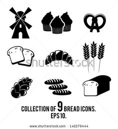 9 bread icons isolated on white background. Vector illustration. - stock vector