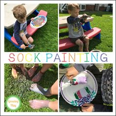 Sock Painting from www.GrowingPlay.com Outdoor Activities For Toddlers, Toddler Learning Activities, Rainy Day Activities, Indoor Activities, Activities To Do, Sensory Activities, Wacky Socks, Unique Art Projects, Sensory Diet