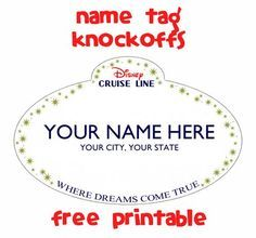 Customizable name tag knockoff -- free printable.  #fishextender gift idea for #Disney cruise: