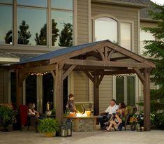Lodge-II Pergola - Shown with optional roof - Wood Pergolas - Pergolas
