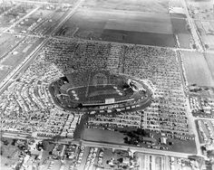 This aerial photograph was taken in fall of the year the new stadium opened. The view looks east toward Oneida Street and Highland Avenue (now Lombardi Avenue). Packers Football, Football Memes, Football Stadiums, Football Season, Curly Lambeau, Sports Stadium, Go Pack Go, Local History, Old Buildings