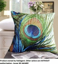 FablegentXH1 - Elegant Decorative Throw Pillow Cover - Peacock Feathers Design on Both Sides - Soft Velvet Fabric - Return Shipping Covered for Continental US Regions
