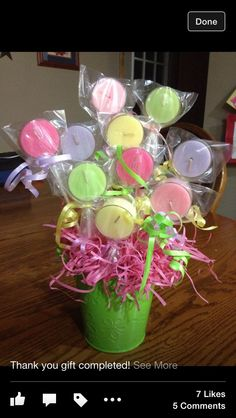 """Lollipop"" votive candle bouquet. Cute gift! Diy Christmas Gifts, Christmas Tree Decorations, Baby Shower Candle Favors, Gold Canyon Candles, Light Crafts, Candy Bouquet, Handmade Candles, Tea Light Candles, Thank You Gifts"