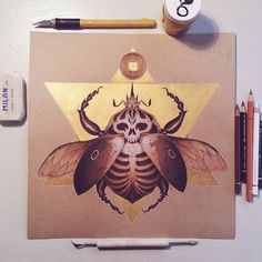 The white idol  Coloured pencil and gouache over kraft paper. 28x28cm.  #illustration #colourpencil #kraftpaper #skeleton #skull #veronavarro #nature #animals #animal #beetle #gouache #gold #fabercastell #drawing #art #painting #dark #surreal #magic #polychromos #pencil #insect #bug #goliathbeetle by veronavarro.ig