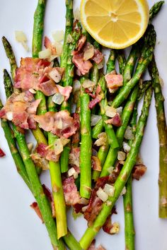 Asparagus with Bacon, Onions, Shallots reluctantentertainer.com