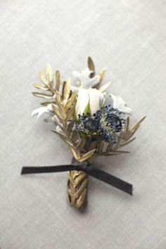 REVEL: Navy and Gold Boutonniere