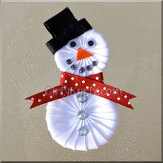 Snowman Ribbon Sculpture Hair Clip. $8.25, via Etsy.