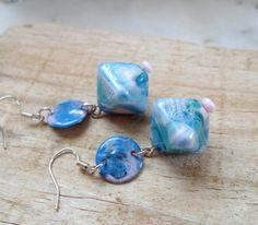 Lampwork Earrings Handmade jewelry Enameled Copper by CandanImrak