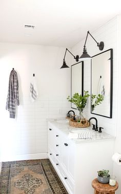 Home Decor Art Modern Farmhouse Master Bathroom Renovation with Delta: The Process & Reveal.Home Decor Art Modern Farmhouse Master Bathroom Renovation with Delta: The Process & Reveal Bathroom Renos, Bathroom Renovations, Bathroom Interior, Bathroom Ideas, Bathroom Vanities, Bathroom Bin, Small Bathroom, Gold Bathroom, Bathroom Stuff