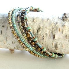 Beaded bracelet stack turquoise & brown