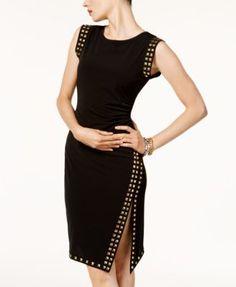 efffd43118ef7 Michael Kors Petite Stud-Trim Side-Slit Dress   Reviews - Dresses - Petites  - Macy s