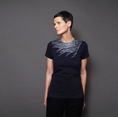 Navy Feather Shirt - Womens Fashion T shirt with Silver Feather  - Metallic Peacock Feather Print on Etsy, $28.00