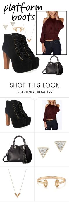 """Platform boots"" by csilverstein ❤ liked on Polyvore featuring Jeffrey Campbell, Vince Camuto, Adina Reyter, Louis Vuitton and Kendra Scott"
