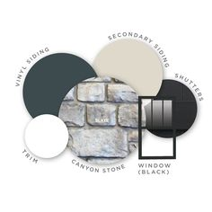 Refreshing your home color palette? Try out this palette inspired by colors of the slate. Stone Color: Slate; Siding Color: Natural Slate; Window Color: Black