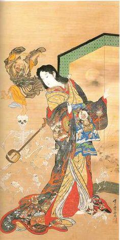 Hell Courtesan (Jigoku dayu) by Kyosai Kawanabe http://en.wikipedia.org/wiki/Kawanabe_Kyōsai http://www.ngv.vic.gov.au/ngvschools/FloatingWorld/supernatural/The-enlightenment-of-Jigoku-dayu/ http://www.christies.com/lotfinder/LotDetailsPrintable.aspx?intObjectID=5294719