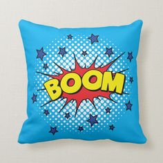 Shop Comic Book Style Colorful BOOM Throw Pillow created by AnyTownArt. Comic Book Nursery, Book Themed Nursery, Comic Book Rooms, Nursery Themes, Nursery Art, Comic Books, Nursery Ideas, Pop Art Party, Personalised Gifts Unique