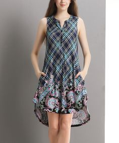 Navy Plaid Paisley Sleeveless Hi-Low Button-Front Tunic by Reborn Collection #zulily #zulilyfinds