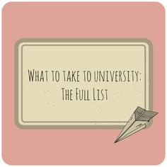 "So just to round up this ""What to take to university"" series, I thought I'd consolidate the list so it's all in one place. Bedroo..."