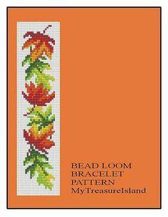 Bead Loom OR Peyote Maple Leaves Border Bracelet Pattern PDF Loom Bracelet Patterns, Seed Bead Patterns, Bead Loom Bracelets, Peyote Patterns, Beading Patterns, Cross Stitch Patterns, Cross Stitches, String Bracelets, Seed Beads