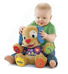 Fisher-Price Laugh Learn Learning Puppy with Bonus CD. Fisher-Price Fisher-Price Laugh And Learn Love to Play Puppy With Bonus CDBaby can learn A-B-Cs, 1-2-3s and parts of the body, plus sing along to ten favorite songs and gamesInvites baby to learn through singing, dancing and playingCuddly pal enhances baby s sense of security, inviting baby to hug and express friendshipBonus Laugh Learn CD includedTo see more information click the Watch it in Action link below the ma