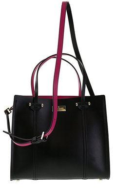 Kate Spade Arbour Hill Small Elodie Handbag in Black/Sweetheart Pink (098)