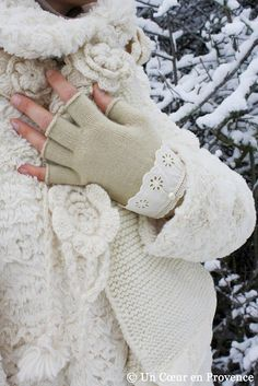 winter white gloves with vintage lace