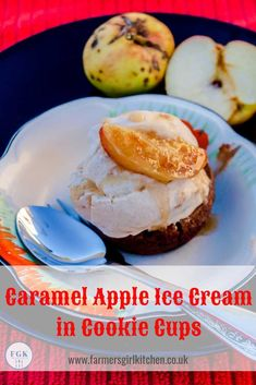 Caramel Apple Ice Cream combines the flavours of the classic Caramel or Toffee Apple with creamy homemade ice cream. It's even better served in edible cookies cups Ice Cream Toppings, Ice Cream Recipes, Apple Ice Cream, Great British Food, Frozen Desserts, Frozen Treats, Edible Cookies, Cookie Cups, Seasonal Food