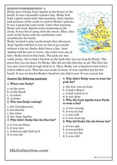 Reading Comprehension for beginner and Elementary Students 3 - ESL worksheets