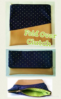 Fold Over Zipper Clutch, Leather on the Bottom and Fun Fabric on the Top, with Another Fun Fabric on the Inside.