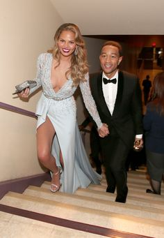Pin for Later: The 55 Best Pictures From the Oscars 2015 Chrissy Teigen and John Legend