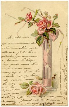 Free Printable: Romantic French Image, Pink Roses & Handwriting / Graphics Fairy