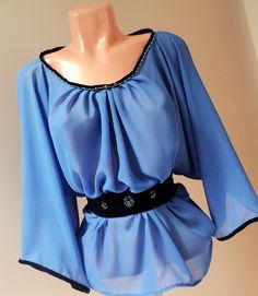 bluza din voal bleu cu cordon din catifea cu margelute