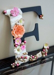 Monogram/Initial Decoration - great way to use all of those silk flowers!