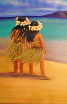 Hawaii Girls Painting by Tricia Hennessey *