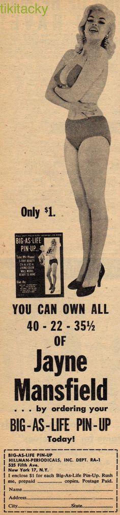 Jayne Mansfield ~ Big as Life Cardboard Cutout of Jayne from Real Adventure magazine, January 1957.