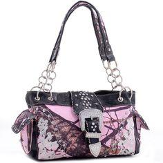 Mossy Oak® Rhinestone Buckle Shoulder Bag - Pink/black