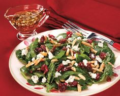 CRANBERRY SPINACH SALAD: - Recipes at Penzeys Spices ~ Everything you could want in a salad: fast, fresh and flavorful. This recipe comes courtesy of Julie Eesley
