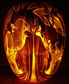 "Maleficent ""Mistress of All Evil"" & Maleficent Dragon ~ Jack O Lantern WAY. cool."