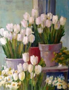 """Daily Paintworks - """"White Tulips"""" - Original Fine Art for Sale - © Libby Anderson"""