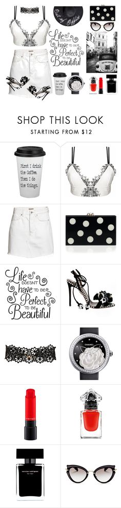 """""""visit roma"""" by nejcka ❤ liked on Polyvore featuring Loveday London, H&M, Aquazzura, Frasier Sterling, Chanel, MAC Cosmetics, Guerlain, Narciso Rodriguez and Miu Miu"""