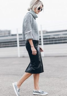 Jacqueline Mikuta + contemporary style + chunky cropped sweater + leather midi skirt + sequined sneakers + Delicate metallic details + contrasting textures + street-ready look. Sweater And Skirt Outfits: Sweater and Skirt: Verge Girl, Shoes: Sam Edelman, Leather Midi Skirt, Black Leather Skirts, Midi Skirt Outfit, Skirt Outfits, Midi Skirts, Dress, Casual Skirts, Casual Outfits, Cochella Outfits