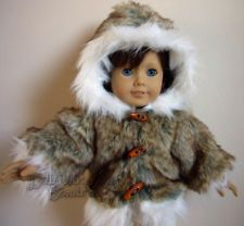 DOLL CLOTHES fits 18 Inch Dolls FUR Coat TOGGLE BUTTONS