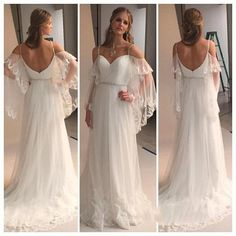 Soft and feminine and outrageously romantic! This gorgeous A-line dress is layers of tulle and chiffon with lace trim and gorgeous, flowing, off-shoulder bat sleeves that are also trimmed in delicate