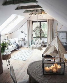 33 Awesome Attic Room Ideas, Attic Bedroom Designs [PICTURES] Attic living room decor with stylish l Attic Bedroom Designs, Room Ideas Bedroom, Living Room Designs, Bedroom Decor, Attic Living Rooms, Living Room Decor, Cool Room Decor, Aesthetic Room Decor, Dream Rooms