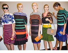 I loved this Prada collection-There were monkeys, bananas and most importantly-Stripes