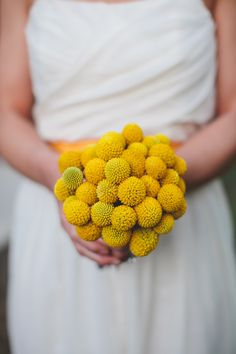 Bouquet of billy balls | Photography: Diana M. Lott Photography Photography: SMS Photography - smsphotography.com  Read More: http://www.stylemepretty.com/2014/05/08/boho-eco-friendly-wedding/