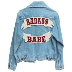 CUSTOM DENIM JACKET (€135) ❤ liked on Polyvore featuring outerwear, jackets, tops, denim jacket, patched jean jacket, patch denim jacket, blue jackets and jean jacket