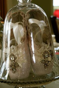 Used Point shoes decorated with glitter, vintage finds and Swarovski crystals.