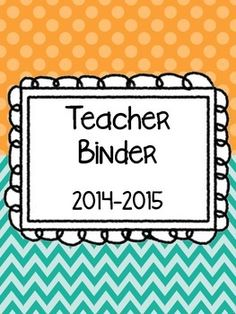 FREEBIE - A colorful set of dividers for a teacher binder for the 2014-2015 school year.