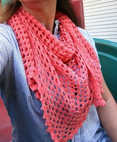 Dreamsicle! Half Granny Square Scarf crocheted in thread with a pretty picot edging ❀❀❀Teresa Restegui http://www.pinterest.com/teretegui/ ❀❀❀